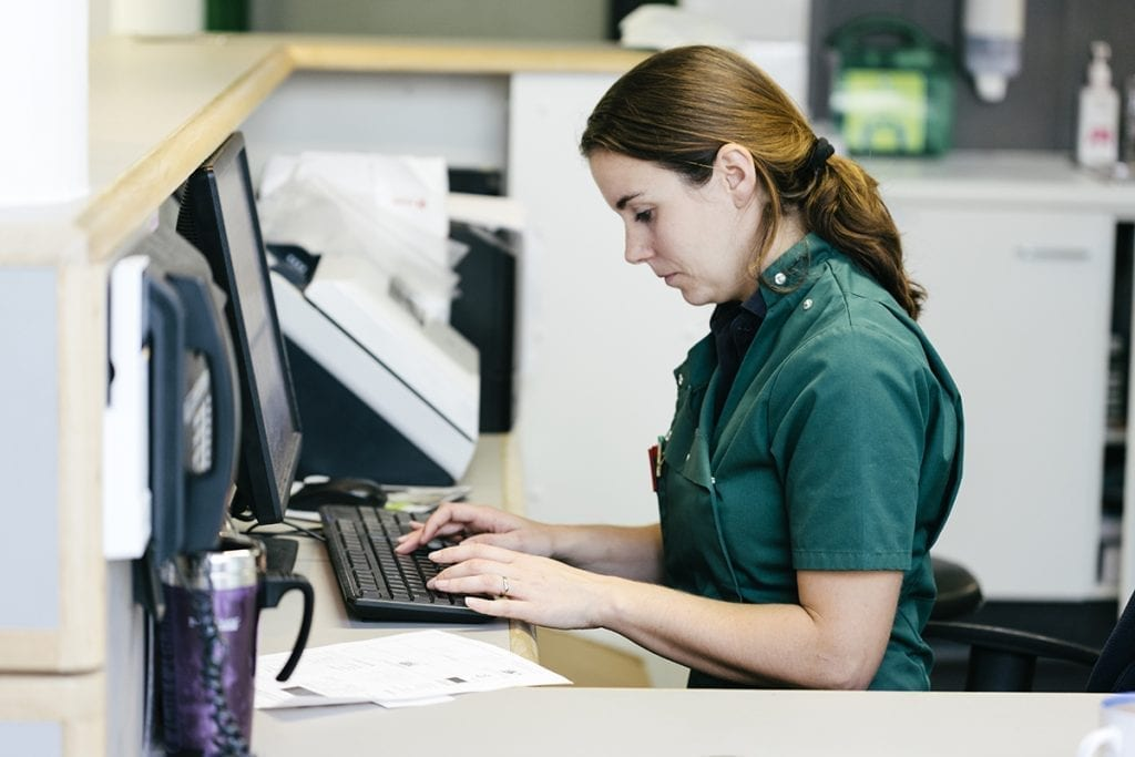 Veterinary Nurse working on computer