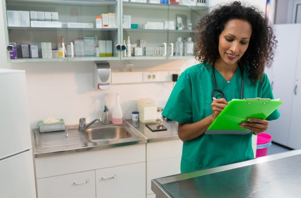 Young Female Veterinarian With Clipboard