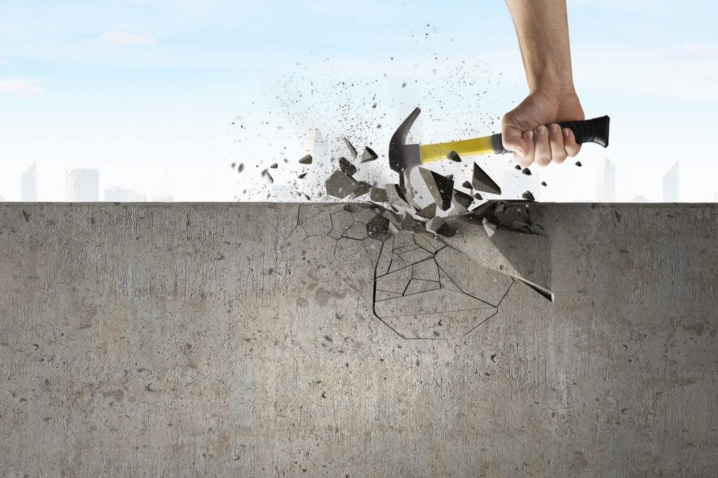 hammer breaking concrete