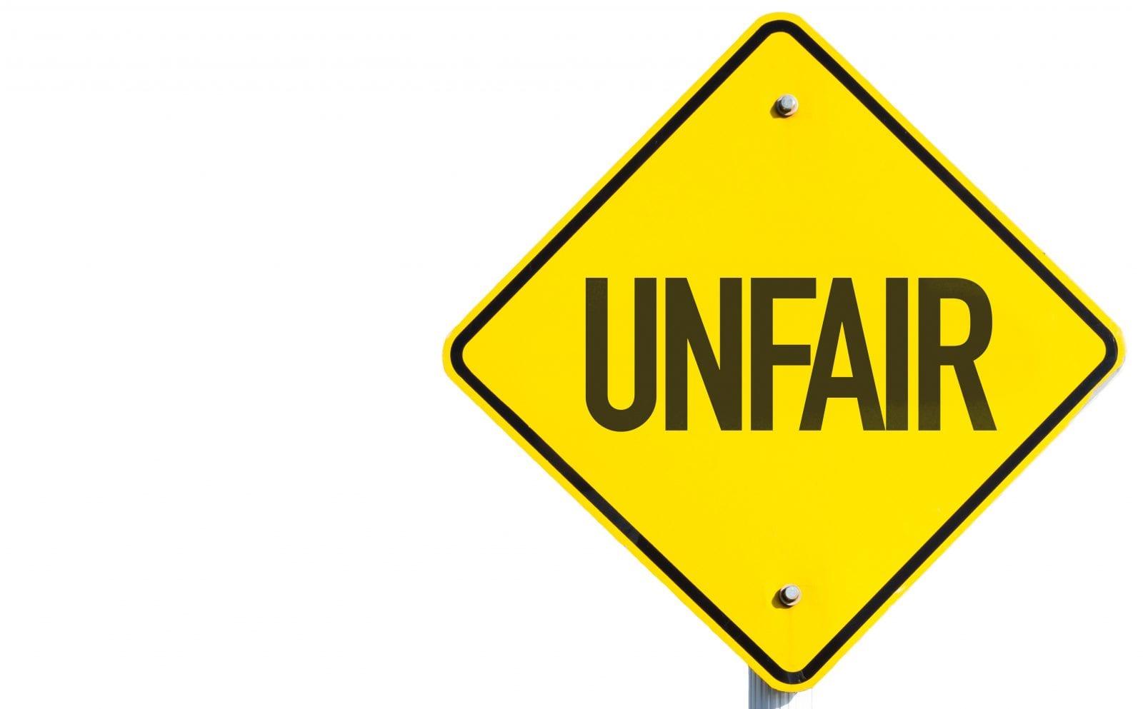 Unfair road sign