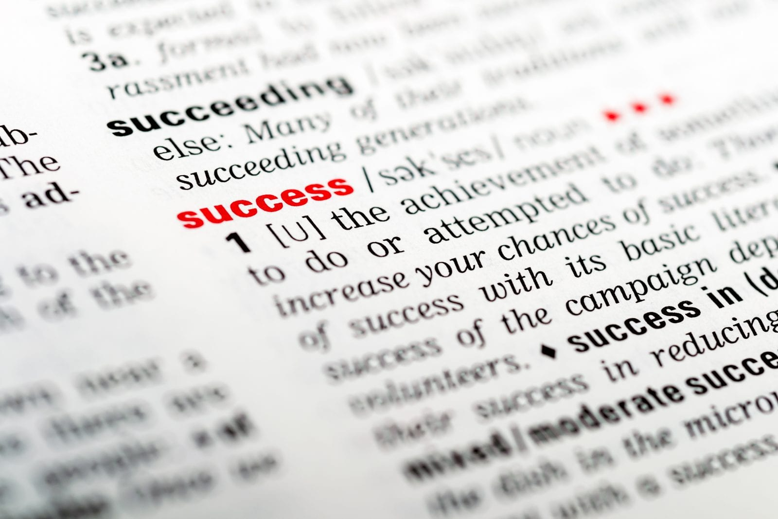 definition of success in dictionary