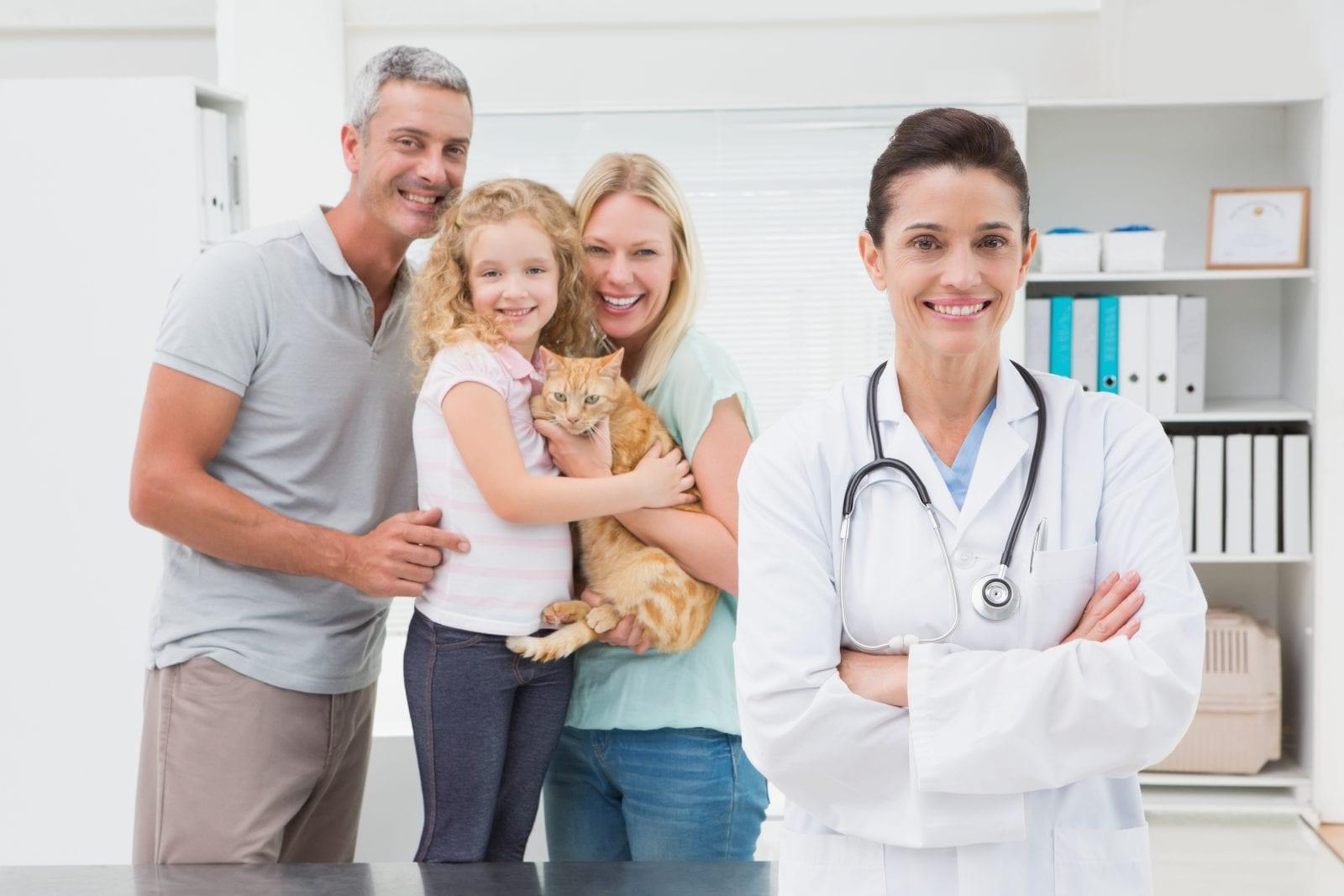 veterinarian, cat and pet owners
